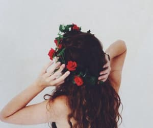 capelli, flower crown, and flowers image