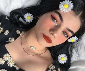 makeup, aesthetic, and flowers image