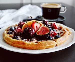 food, FRUiTS, and waffles image