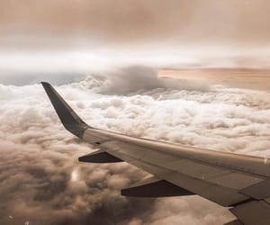 aesthetic, airplane, and clouds image