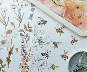 bees, flowers, and paint image