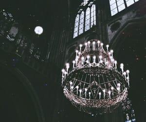 dark, chandelier, and gothic image