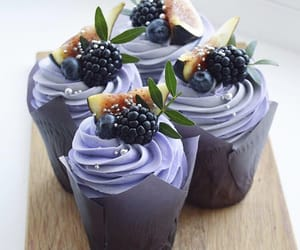 blackberry, cream, and cupcake image