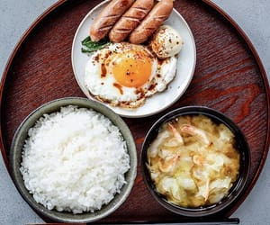 eggs, rice, and sausage image