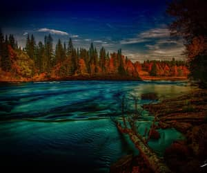 autumn, river, and sweden image