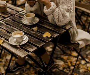 autumn, coffe, and leaves image
