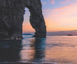 sea, sunset, and beach image