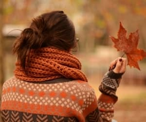 autumn, girl, and leaf image