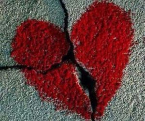 heart, broken, and red image