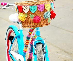 bike, crochet, and rainbow image