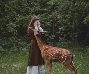 forest, girl, and deer image