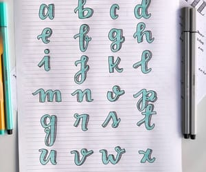 alphabet, lettering, and brush script image