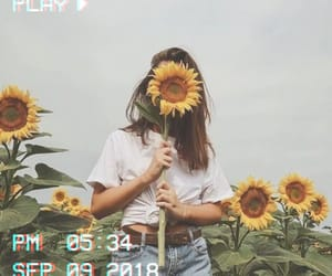 girl, sunflower, and vhs image