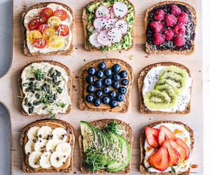 food, fruit, and toast image