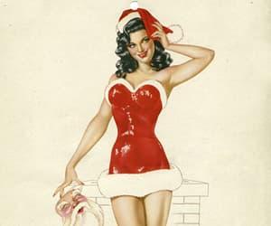 christmas, pin-up girl, and flirty image
