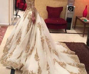 dress, gold, and outfi image