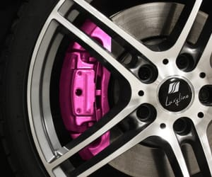 pink car, pink wheels, and luxury car image