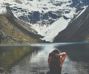 hiking, lake, and mountains image