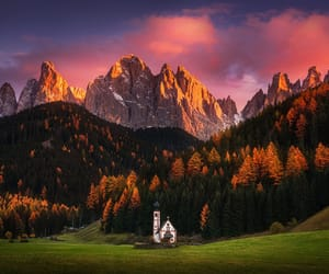 church and dolomites image