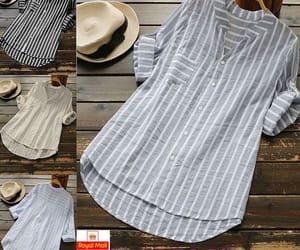 baggy, striped, and v neck image