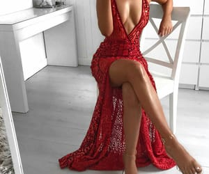 girls, luxury, and red dress image