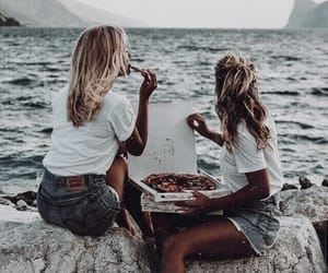 beach, girl, and pizza image
