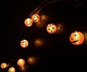Halloween, lights, and pumpkin image