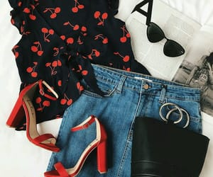 fashion, glasses, and jean skirt image