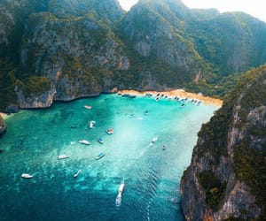 beach, blue, and landscape image