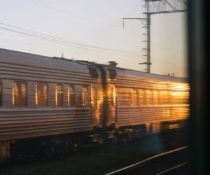 morning, train, and sun image