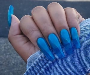 nails, acrylic, and blue image