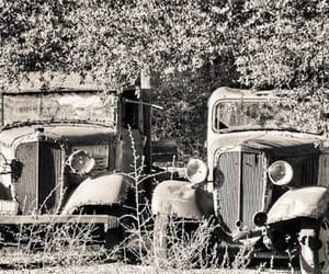 black&white, cars, and rusty image