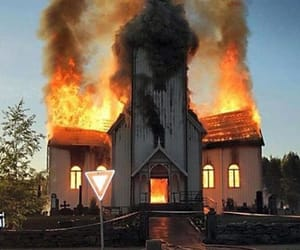fire and church image