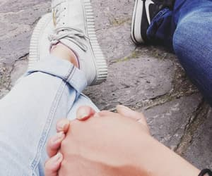 couple, jeans, and hold hands image