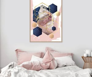 pink bedroom ideas, blush pink and navy, and pink and blue art image