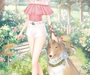 anime, dog, and rainbow hair image