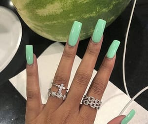 acrylic, green nails, and jewelry image