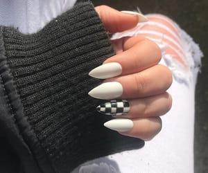 black, checkered, and nails image