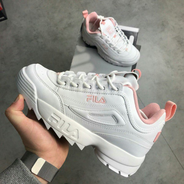 Fila Disruptor II in White and Flamingo Pink on We Heart It