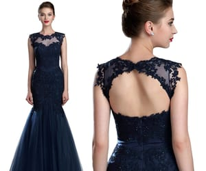 open back, mermaid evening dress, and lace prom gown image