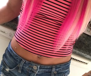 hair, pink hair, and jeans image