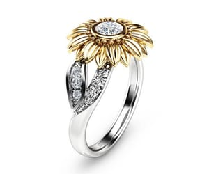 etsy, unique engagement, and two tone gold ring image