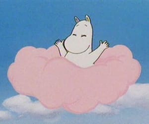 moomin, pink, and clouds image