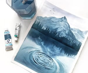 art, blue, and mountain image