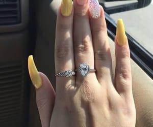 yellow, nails, and acrylic image