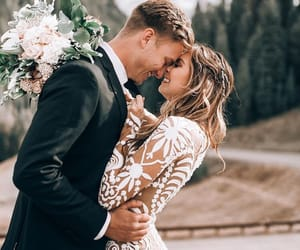 bride, couple, and kiss image