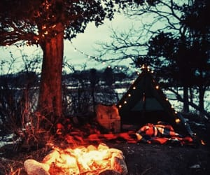 camping, fireplace, and adventures image