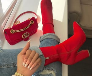 red, nails, and shoes image