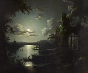 art, moon, and dark image
