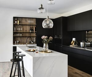kitchen, black, and home image